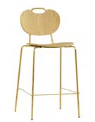 Sgabello per interni, in metallo ottonato, seduta e schienale in legno multistrato - cm 41x40x105h