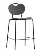 Sgabello per interni, struttura in metallo verniciato, seduta e schienale in legno multistrato - cm 41x40x97h