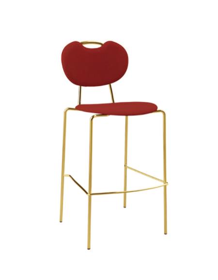 Sgabello per interni, struttura in metallo ottonato, seduta e schienale in velluto - cm 41x40x97h