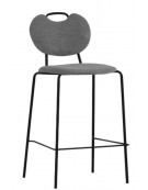 Sgabello per interni, struttura in metallo verniciato, seduta e schienale in tessuto - cm 41x40x97h