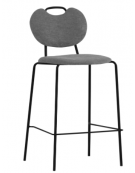 Sgabello per interni, struttura in metallo verniciato, seduta e schienale in tessuto - cm 41x40x105h