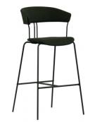 Sgabello per interni, struttura in metallo verniciato, seduta e schienale in tessuto - cm 41x43x101h
