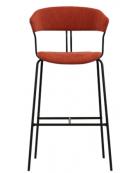 Sgabello per interni, struttura in metallo verniciato, seduta e schienale in tessuto - cm 41x43x111h