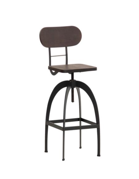 Sgabello per interni, in metallo verniciato, seduta e schienale regolabile in legno - cm 32x32x96/113h