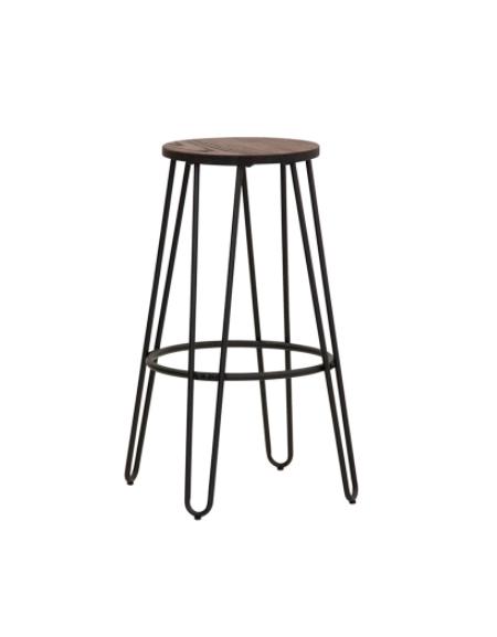 Sgabello per interni, in metallo verniciato, seduta  in legno - cm 33x33x74,5h
