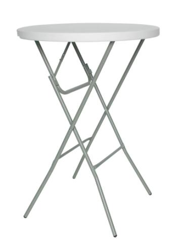 Tavolo tondo alto, struttura in metallo verniciato, piano in polietilene - cm Ø 80x110h