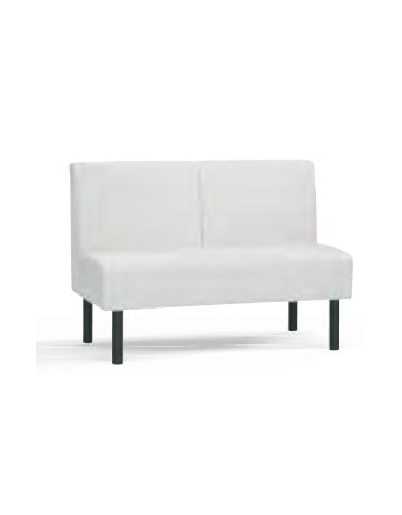 Panca 2 posti per interni, struttura in legno, rivestimento in ecopelle o tessuto - cm 120x45x86h