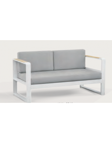 Divano, struttura in alluminio verniciato, 2 braccioli in teak - cm 147x78x78h