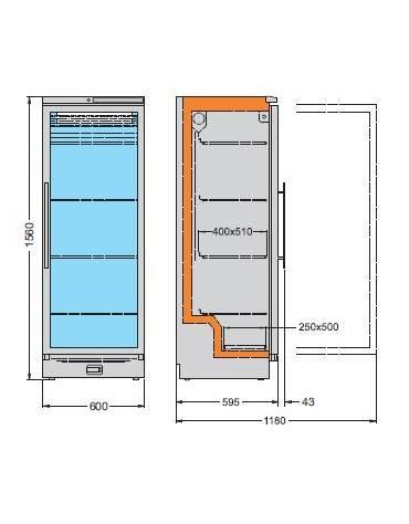 Frigorifero per farmacia da Lt. 320 cm 60,4x64,5x161,5h