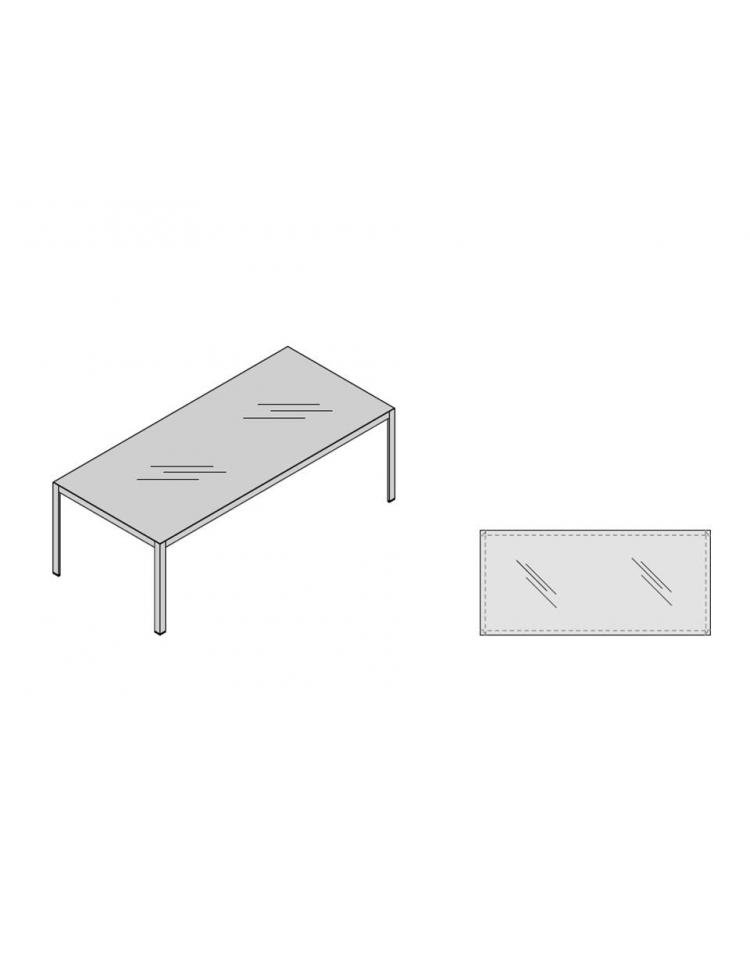 Tavolo Riunioni Gamba Alluminio Bianca Piano Vetro 220x100 Plus Alluminio Scrivanie E Tavoli