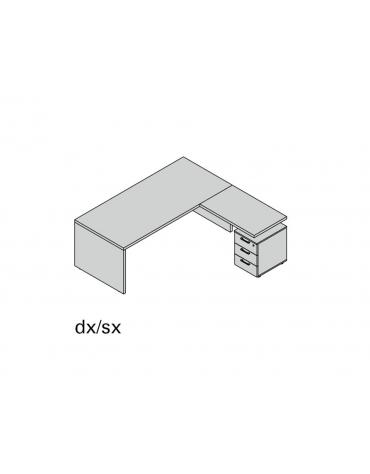 Composizione fianco legno con 3 cassetti L180
