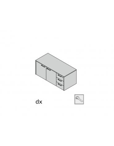 Mobile di servizio monofacciale 3 cassetti ammortizzati e 2 ante