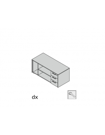 Mobile serv monofacciale 3 cassetti, vano giorno, vano cpu plus