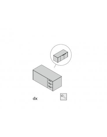 Mobile servizio bifacciale 3 cassetti, 2 ante