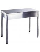 Tavolo inox aperto senza ripiano Dimensioni cm.180x70x85/90h