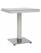Tavolo in alluminio, polietilene e vetro 70x70x75h Square