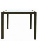 Tavolo in alluminio, polietilene  e vetro 90x90x75h