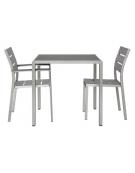 Tavolo in alluminio satinato e  composito  80x80x76h