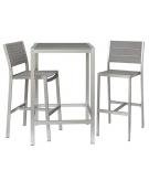 Tavolo alto in alluminio satinato e composito  70x70x110h