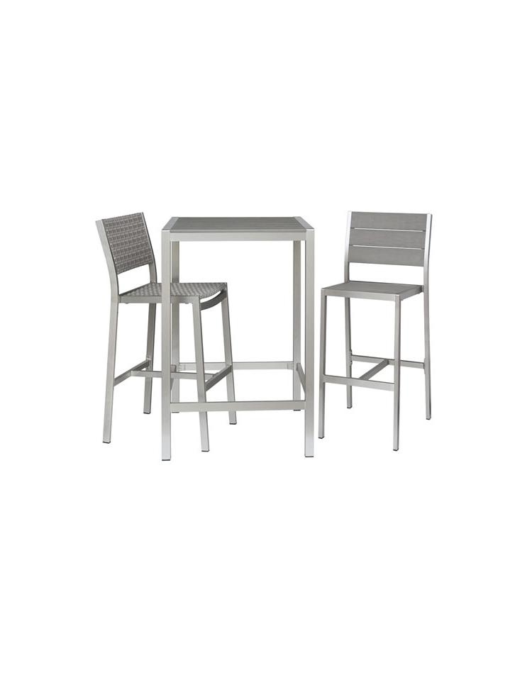 Tavolo alto in alluminio satinato e composito 70x70x110h for Tavolo cucina 70 x 110