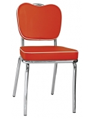 Sedia in acciaio cromato ed ecopelle 50' style