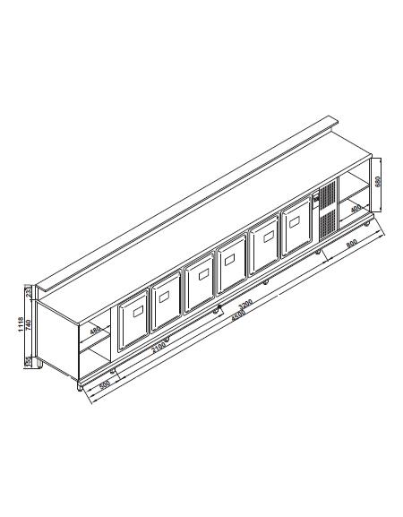 Banco bar refrigerato 6 sportelli motore interno da cm 450 con motore incorporato banchi - Sportelli cucina grezzi ...