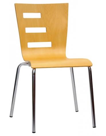 Seduta in acciaio cromato e multistrato Bar