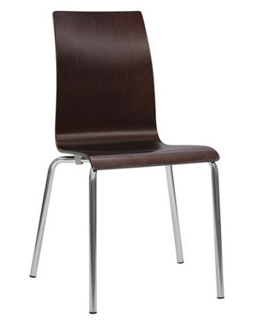 Seduta in acciaio cromato e multistrato Session