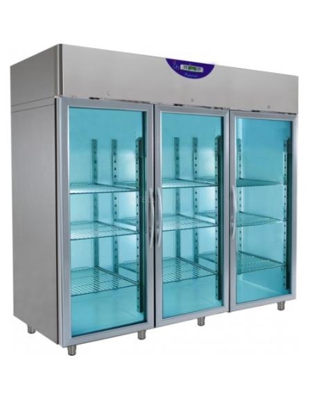 Armadio congelatore inox verticale 3 porte in vetro