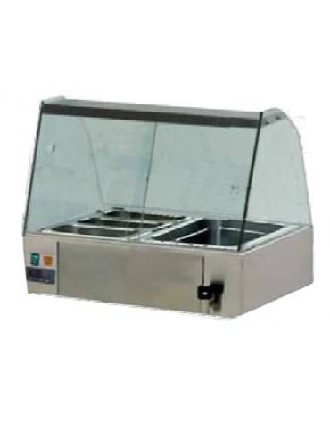 Vetrina calda bagnomaria su carrello-Vetri dritti-Cm.140x63x150h