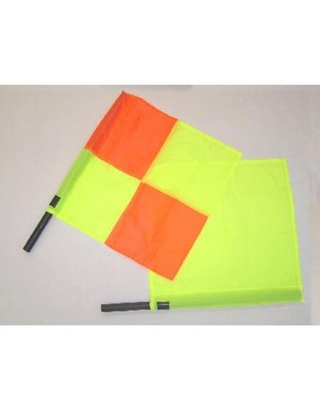 Bandierina guardalinee con drappo a scacchi giallo e arancio