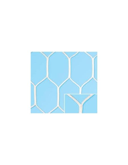 Coppia reti per porte da calcio maglia esagonale, dim.m.7,50x2,5