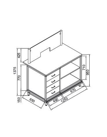 Banco tabacchi- totocalcio da cm. 125