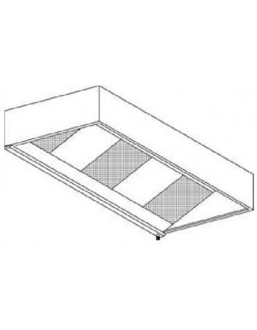 Cappa cubica con filtri a carboni attivi da parete cm.300x90x40h