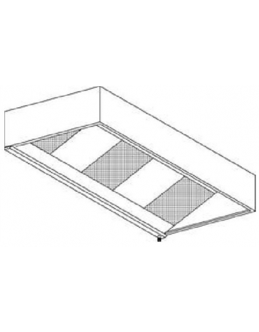 Cappa cubica con filtri a carboni attivi da parete cm.220x110x40