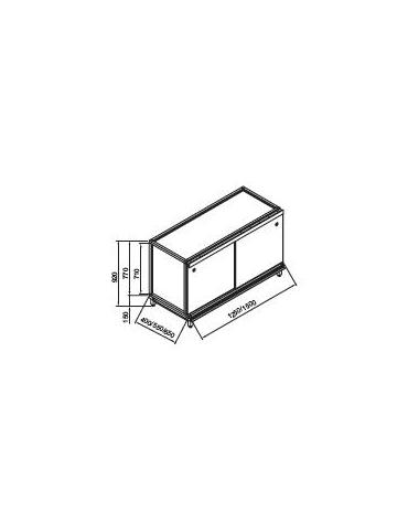 Retrobanco bar neutro senza top da cm. 150x55x92h