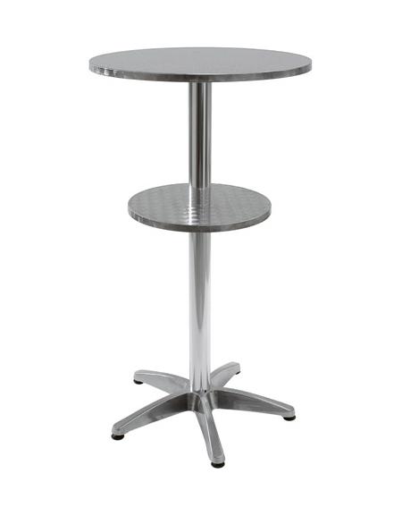 Tavolo alluminio tondo bar alto diametro piano con for Tavolo alto usato