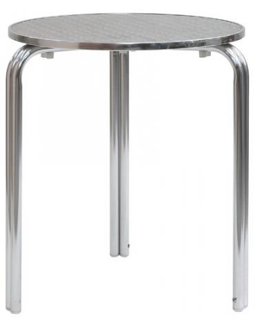Tavolo tondo alluminio impilabile diametro cm. 60 doppia gamba