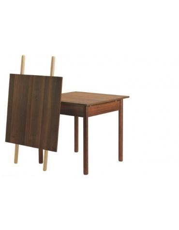 Tavolo ristorante legno massello noce cm. 80x80x74h-Gambe tonde