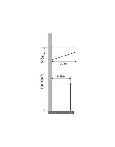 Cappa ecologica a parete snack inox per ristorante con carboni attivi cm 220x78x15/40h