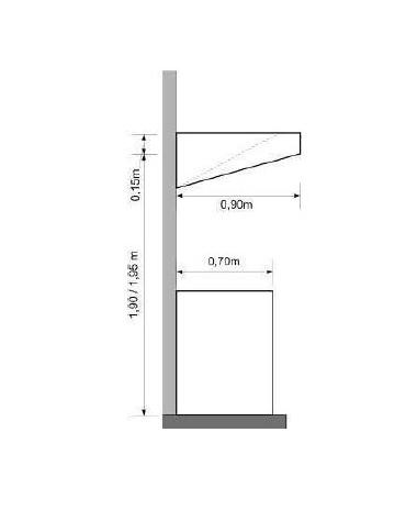 Cappa a parete snack inox per ristorante cm 160x90x15/40h