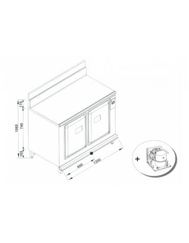 Retrobanco refrigerato da cm. 120