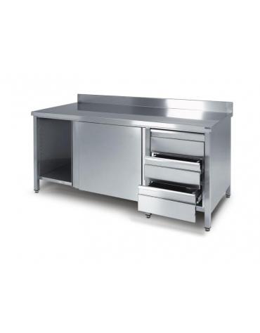 Tavolo armadiato inox con cassettiera a 3 cassetti cm 180x70x85h