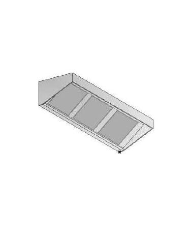 Cappa snack a parete inox ecologica con motore cm 220x90x15/40h