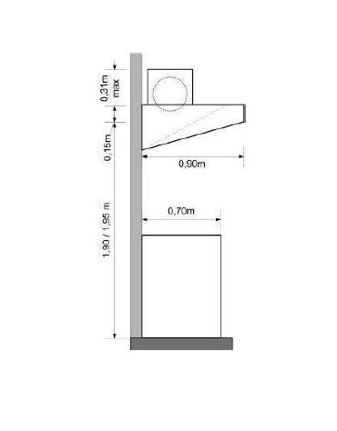 Cappa snack a parete inox ecologica con motore cm 260x90x15/40h
