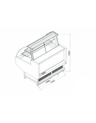 Vetrina pasticceria ventilata da cm. 130