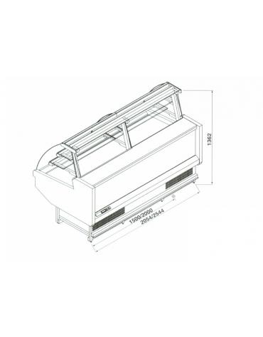 Vetrina pasticceria ventilata da cm. 200