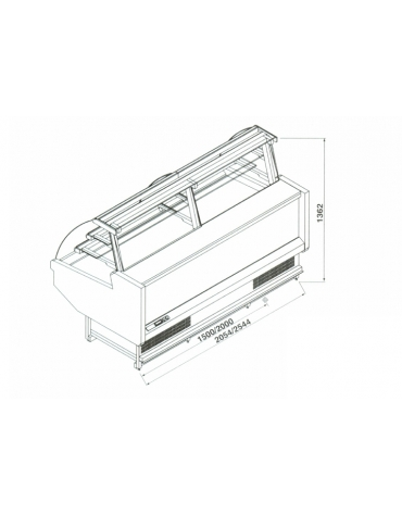 Vetrina pasticceria ventilata da cm. 250