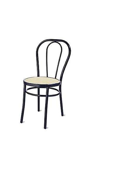 Sedia Thonet nera sedile tondo paglia - Sedie e tavoli per bar o ...