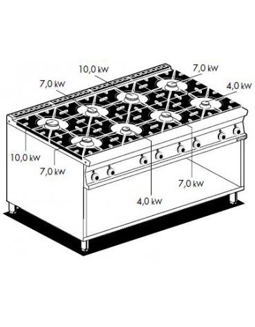 Cucina professionale 8 fuochi su armadio aperto cm 160x90x85h